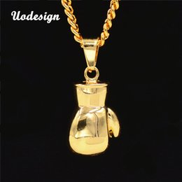 Wholesale christmas glove styles - Fist boxing gloves Necklace For Men Hiphop Style yellow Gold Alloy 75cm chain Men Jewelry
