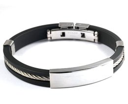 Wholesale silicone bracelet energy new - New Jewelry energy power Casual Stainless Steel Black Genuine Silicone with one line Men Bracelet Male Bangles Sporty Wristband