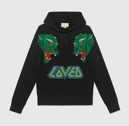 Animais dos lobos on-line-18SS Algodão moda casual outono designer de luxo mens LOVED carta lobo impressão animal hoodies pullover moletom com capuz