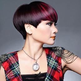 Parrucche brasiliane corti dei capelli umani dei capelli rossi scuri Parrucche dei capelli umani della Borgogna Parrucca laterale del Bang Parrucca corta dell'essere umano Breve Parrucche nere naturali da