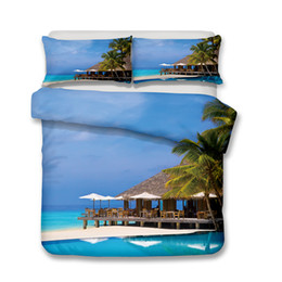 Wholesale King Quilt Blue - Sunny Beach Pattern Printed bedding set All Sizes Pillow Case Quilt Cover Duvet Cover No Filler