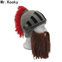 Mr. Kooky Red Borla Cosplay Cavaleiro Romano Capacete de Malha dos Homens  Boneca Original Bárbaro Handmade Inverno Quente Barba Chapéus Engraçados  Gorros ... 7c99d20de3d