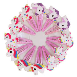 Wholesale Plastic Kids Hair Accessories - New 100pcs lot 4 Colors Glitter Unicorn Hairclips Cartoon Animal Hair Clips Cute Plastic Hairpins Kids Headwear Hair Accessories for Girls