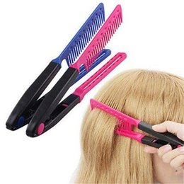 Wholesale Beauty Salon Combs - HOT Salon Styling Hairdressing Hair Straightener DIY Salon Hairdress Styling Beauty Care Straightener V Comb Makeup Tool YW274BE YW274PK