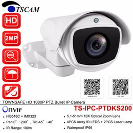 Wholesale Ip Optical - TSCAM HD 2MP 1080P PTZ Bullet IP Camera Pan Tilt 10X Optical Zoom IR H.264 Outdoor Waterproof IP66 P2P CCTV Security Surveillance Cam