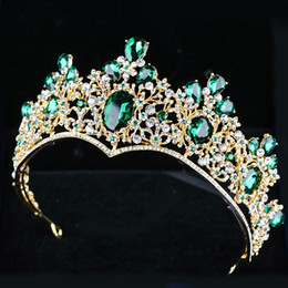 Wholesale white ceramic blue flower - Bridal ornaments emerald crown crown 2018 new European and American alloy fine air bridal crown