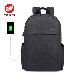 "Wholesale Male School Bags - 2017 New Design Tigernu Anti-thief USB charging 15.6"" laptop Compute backpack for women male Backpack school Bag for Men Mochila"