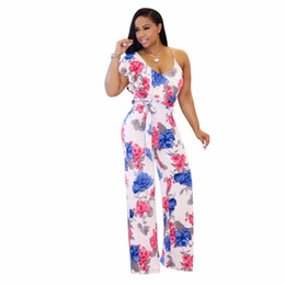 20bd16d7de0 Chinese Floral Print Backless Strap Overalls Flared Jumpsuits Outfit Summer  women playsuits casual sexy fashion Bandage