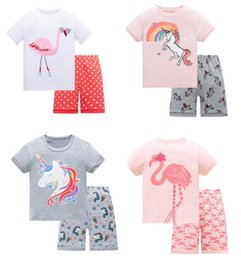Wholesale Long Sleeve Shirts For Kids - Baby Pajamas Unicorn Flamingos Kids Sleepwear Pajamas Summer Short Sleeve Pajamas Shirt+Short Pants 2PCS Sets Kids Sleepwear Suit For 1~7 Y