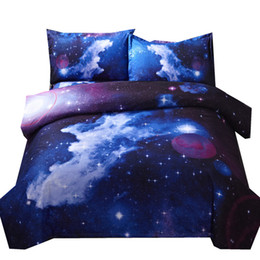 Wholesale outer space bedding - 3d Galaxy Duvet Cover Set Single Double Twin 4pcs Bedding Sets Universe Outer Space Themed Bed Linen