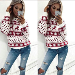 Wholesale Womens Christmas Knit Sweaters - Women Lady Jumper Sweater Pullover Tops Coat Christmas Winter Womens Ladies Warm Brief Sweaters Clothing