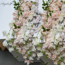 Wholesale Cherry Blossoms Backgrounds - Artificial Cherry blossom rattan 1.8m DIY wedding vine silk flower upgrade new decoration for hotel background shop window decor