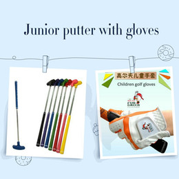 Wholesale Right Handed Glove - Promotion 2pcs set Kids Rubber Head Two Way Putter Clubs With One Pair Children Golf Gloves Golf Toys