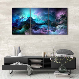 Wholesale psychedelic art - 3 Panels Pieces Modern Abstract Canvas Art Wall Hanging Decorations Psychedelic Canvas Poster Wall Decor Art Pictures Home Decoration Blue N