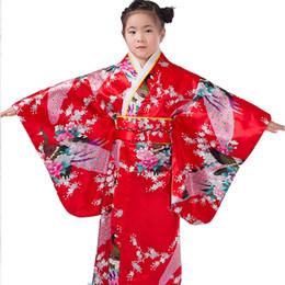 Robes de kimono en soie enfants en Ligne-2018 enfant soie imprimé floral robe paon robes japonais filles kimono enfants interprètent des enfants des costumes de danse