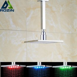 "Wholesale Ceiling Shower Arm - Polished Chrome Brass Led Light Shower Head Ceiling Mounted Shower Arm Square Rainfall 8-10"" Sprayer Head"