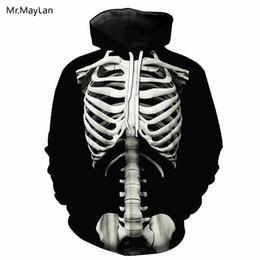 Ropa de niños esqueleto online-Cool 3D Print Skull Skeleton Jacket Hoodies Hombres / Mujeres Hiphop Pullovers Hood Sudaderas Boys Black Casual Chándales Ropa EU