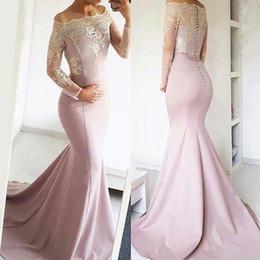 С длинным рукавом с закрытыми формальными платьями онлайн-Новый элегантный с плеча кружевные вечерние платья с длинными рукавами и аппликациями платья выпускного вечера русалки торжественная одежда с покрытой пуговицей BA8277
