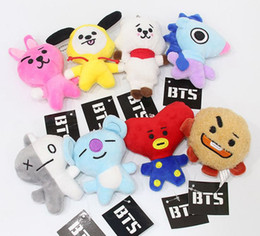 Wholesale kpop anime - Set of 8 KPOP Cute Cartoon BTS BT21 Plush Doll Toy Bangtan Boys Tata Chimmy Mang Van Shooky Plush Pendant Backpack Pendant