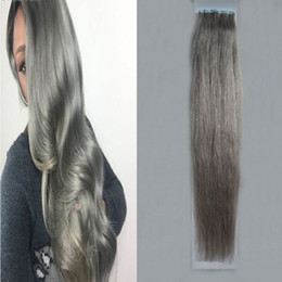 """grey tape Canada - Silver Gray hair extensions tape in human hair extensions 12"""" 14"""" 16"""" 18"""" 20"""" 22"""" 24"""" 26"""" 100g 40pcs Set 7a grey tape hair extensions"""