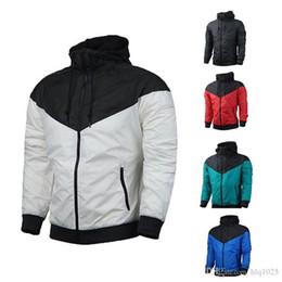 Wholesale sports hoodies for men - Spring Fall thin windrunner Men Women sportswear waterproof fabric Men sports jacket Fashion zipper hoodie for men