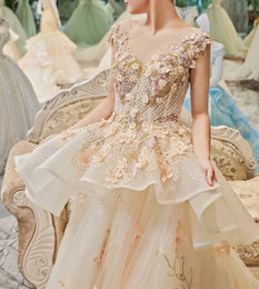 Wholesale High End Wedding Gowns - Wedding Dress 2017 New The High-end Elegant O-neck Classic Lace Embroidery Sweep Train Ball Gown Illusion Noble Bridal Gown