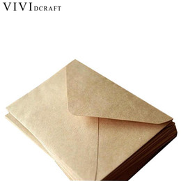 Wholesale Diy Envelope Card - Vividcraft Wedding Birthday Party 100pcs Pack New Vintage Diy Multifunction Kraft Paper Envelope 16*11cm Gift Card Envelopes