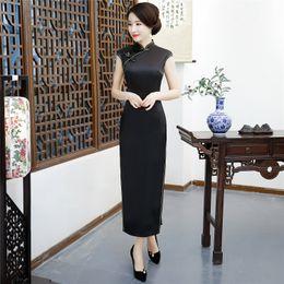 Argentina Historia de Shanghai Largo Qipao Vestido chino Sexy Back Negro Sólido Cheongsam Vestido tradicional chino Ropa de mujer China Suministro