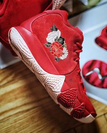 Wholesale Floral Sneakers - New Kyrie 4 Chinese New Year Basketball Shoes Red With Floral CNY Top Quality Kyrie Irving Outdoor Sports Sneakers With Box Size US7-12