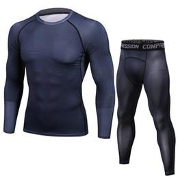 Tee shirt homme Pantalon Set 2 Pièce Costume Sportif Compression Joggers Couche Basique Fitness Leggings Vêtements Rashguard ? partir de fabricateur