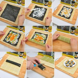 Fabricantes de bambú online-Bricolaje Sushi práctico Rolling Roller Bamboo Material Mat Maker y arroz Paddle Set