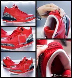 Wholesale Dj Canvas - 2017 Mens 3 X DJ Khaled Grateful PE Basketball Shoes For Men Fire Red 3s Man Basket Ball Sports Sneakers Size US 8-13