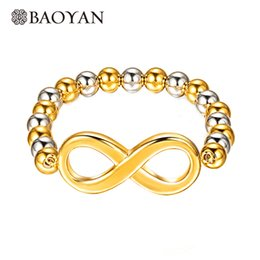 Wholesale Yan Wholesale - whole saleBao Yan 316Lstainless steel Gold Silver Mixed Color Big Infinity Charm Beaded Bracelet for Women