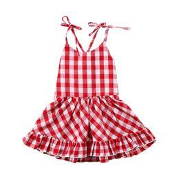 Vestido xadrez bebê vermelho on-line-Recém-nascidos Crianças Meninas Vestidos de Verão Sem Mangas de Algodão Xadrez Vermelho Curto Mini Vestido Com Decote Em V Algodão Princesa Roupas de Festa