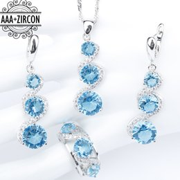 Wholesale Light Blue Stone Jewelry - Silver 925 Costume Bridal Jewelry Sets Women Light Blue Zircon Necklace&Pendant Earrings With Stones Rings Set Jewelery Gift Box