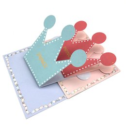 Wholesale Wholesale Thank Cards Wedding - 20pcs Pink Blue Prince Princess Crown Party Invitation Card Kids Birthday Party Supplies Baby Shower Thanks Card For Guests
