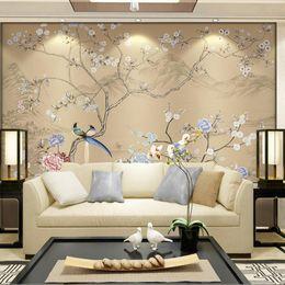 3d fleur oiseaux papier peint mur murale chambre mur décor papel decorativo de pared papier peint pour murs 3 d fleurs murales ? partir de fabricateur