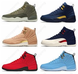 d2532aa2344f27 New 12 12s Graduation Pack Chris Paul Class Of 2003 olive canvas Basketball  Shoes Men CP3 Michigan Taxi Flu Game UNC Sneakers