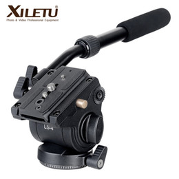 mini transmisor de cámara Rebajas XILETU LS-4 Handgrip Video Photography Fluid Arrastre la cabeza del trípode hidráulico y la placa de liberación rápida para ARCA-SWISS Manfrotto