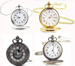Wholesale Antique Brown - wholesale 50pcs lot mix 4Colors classic Roman Pocket watch vintage pocket watch Men Women antique models Tuo table watch PW011