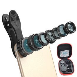 Wholesale Zoom Fishing - eCLouds 7 in 1 Phone Camera Lens Kit Fish Eye Wide Angle macro Lens CPL Kaleidoscope and 2X telephoto zoom Lens for mobilephone