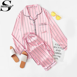 Wholesale Pajama Shirt Satin - Sheinside Pink Striped Satin Long Pajama Set 2017 V Neck Turn-down Collar Long Sleeve Pajama Set Women Elegant Autumn Nightwear