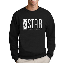 Sudadera flash online-The Flash Star Lab cartas de Impresión Estudiantes Sudadera Hombres Otoño Cuello Redondo Sudaderas Casual Jerseys Negro Blanco Marca de Ropa