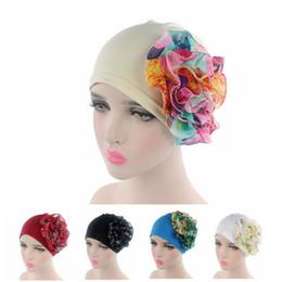 Wholesale Black Hair Falls - 5Pcs Lot New Brand Fashion Women Muslim Chiffon Flower Turban Hat Lady Elastic Head Wrap Hair Loss Head Scarf