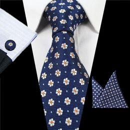 Wholesale geometric cufflinks - Fashion Men Tie Set Silk Hanky Cufflinks Print Floral Geometric Plaid Jacquard Woven Necktie Business Wedding Party Formal Occasion 12gl hh