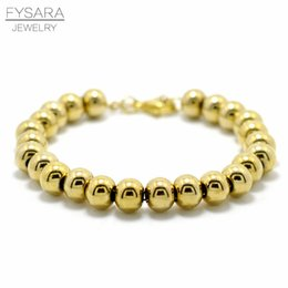 2019 цвет заполнения бисер FYSARA Gold Color Filled Stainless Steel Ball  Bracelets Women Men Love Jewelry Customize 4/6/8mm Beaded Strand Bracelets дешево цвет заполнения бисер
