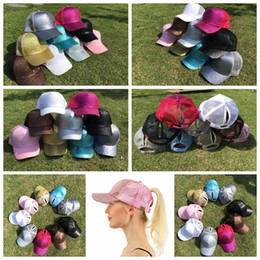 Wholesale Kids Snapback Hats Wholesale - CC Glitter Ponytail Baseball Cap 9 Colors Snapback Hip Hop Caps Women Messy Bun Sequins Shine Summer Mesh Trucker Adults Kids Hats OOA4865