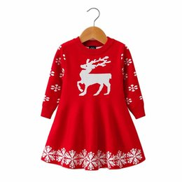 roupa de floco de neve baby Desconto Crianças Veados De Malha Vestidos Do Bebê Da Menina Outono Manga Longa Crianças Camisola Do Natal Vestido De Roupas De Floco De Neve Veados Impresso Vestido