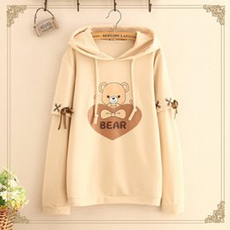 Wholesale Ribbon Bear - Harajuku Ribbon Hooded Sweatshirt Hoodies Women Bear Pattern Casual Female Long-sleeved Pullovers Hoodies T517