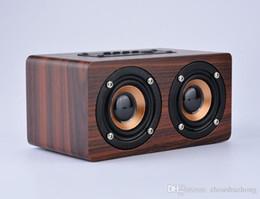 Wholesale mini speaker micro sd - W5 Wooden bluetooth speaker dual speaker support micro sd card TF card